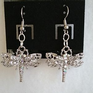 Dragonfly with rhinestone earring